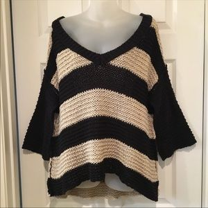 Free People sweater striped bell sleeve deep V M